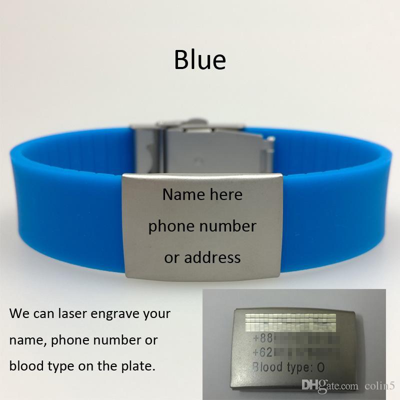 medizinisches Alarm Notfallarmband aus Silikon mit Metallverschluss und Platte