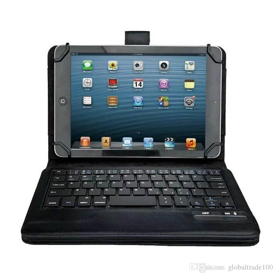 """7"""" 8"""" inch Universal Bluetooth Keyboard Tablet PC Case For iPad mini Samsung Galaxy Tab Keyboards PU Leather Stand Smart Cover Cases"""
