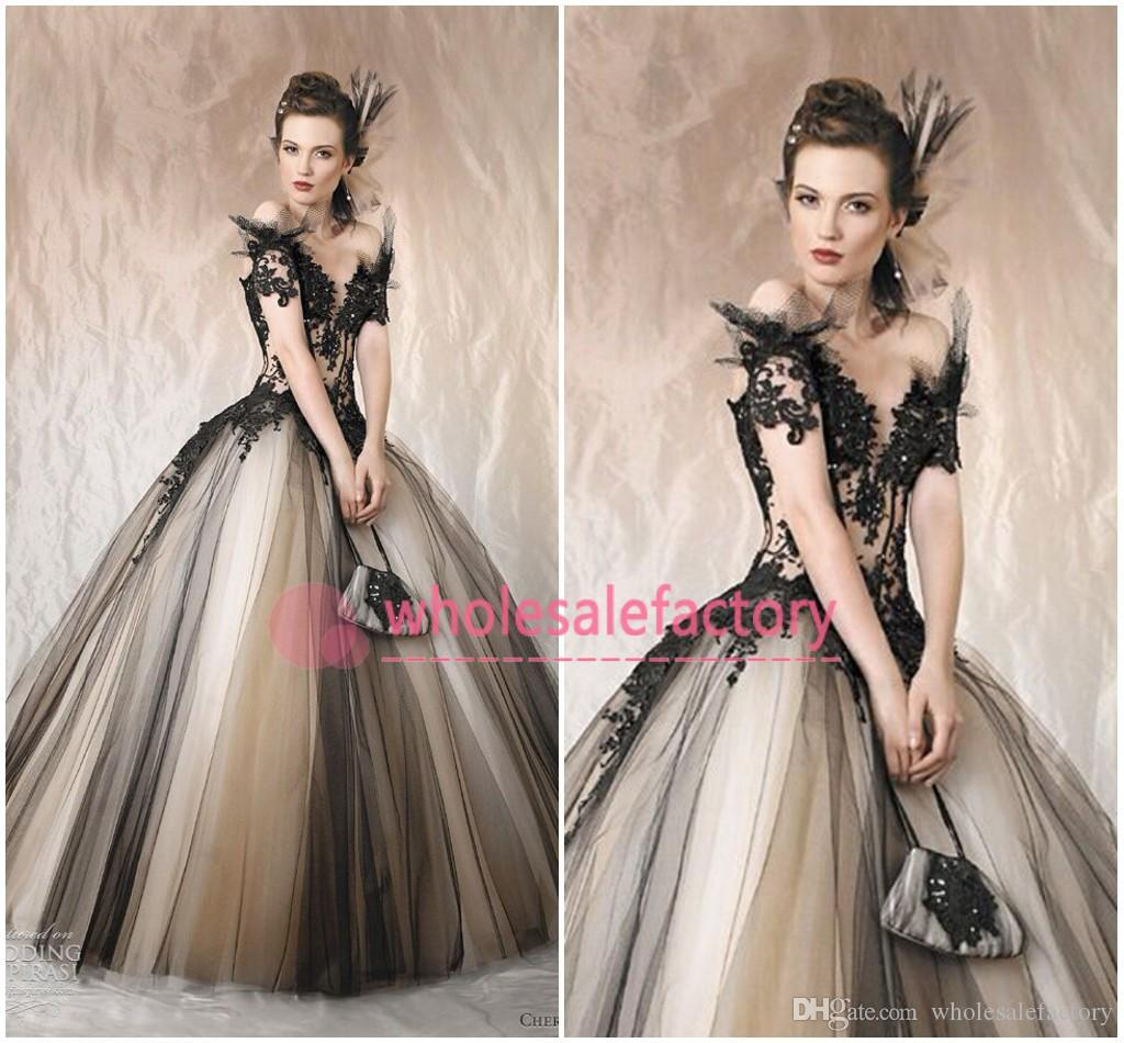 ball gowns cheap. 2017 gorgeous cherie sposa ball gown wedding dresses off the shoulder appliques beads v neck backless black champagne bridal gowns bo3530 cheap n