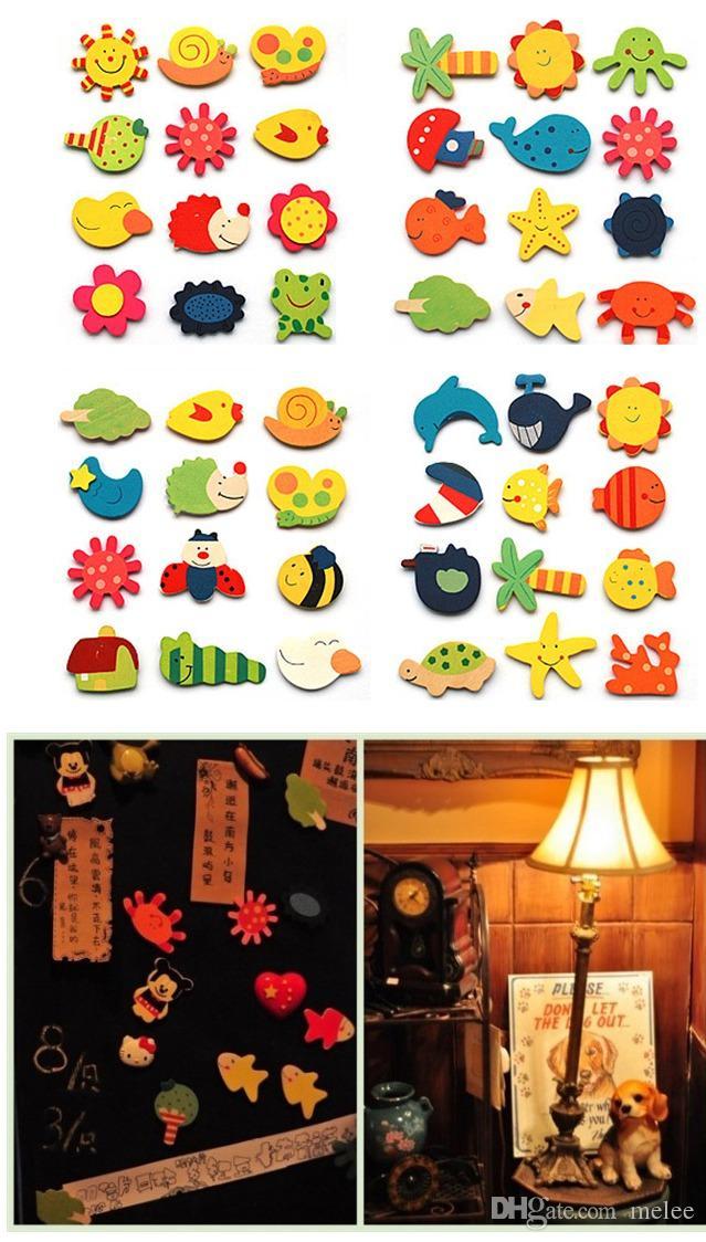 960 sztuk / partia Dziecko Drewno Cartoon Fridge Magnes Prezent Animal Style Edukacyjne Pre-Shool Zabawki Magnetyczne Naklejki Fedex DHL Statek