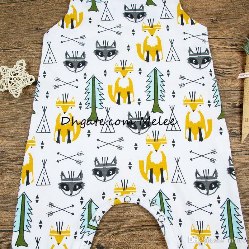 ins printemps couleur enfants renard doré impression Combinaisons bébé nourrisson coton arbres à feuilles persistantes pleine impression Romper Body arrow Combinaisons 0-2ans