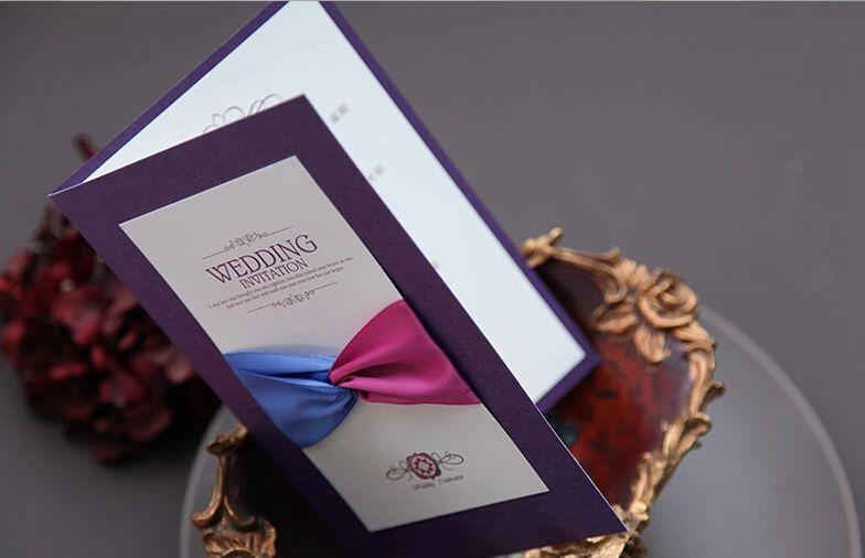 Purple Personalized Wedding Invitations Cards 2015 Handmade Silk Ribbon  Unique Folded Card New Style MLPurple Personalized Wedding Invitations Cards 2015 Handmade Silk  . Personalized Wedding Cards. Home Design Ideas