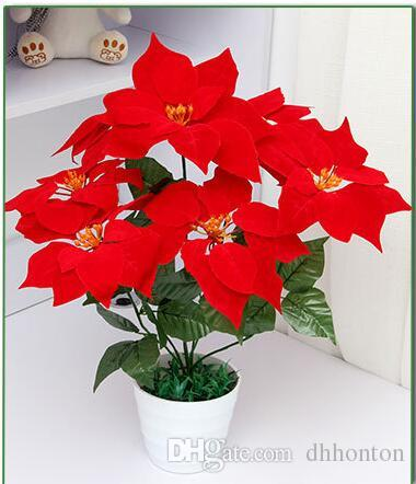artificial flowers poinsettia ,christmas flower poinsettia christmas home festival decoratiion flower 45cm 7 Head Poinsettia Flower SF008