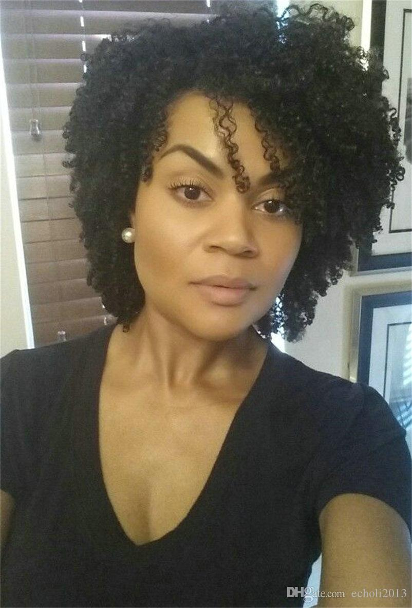 African american short kinky curly lace front human hair wigs for black women 10inch 130% density full lace wig free ship