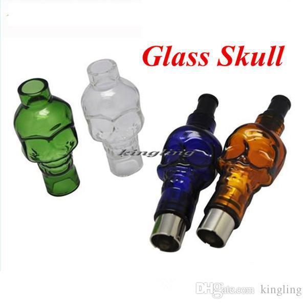 Glass Globe Bulbs Skull Clearomizer with Replacement Ceramic coil Atomizers Electronic Cigarette, Wax Dry Herb Vaporizer Glass Skull Tank