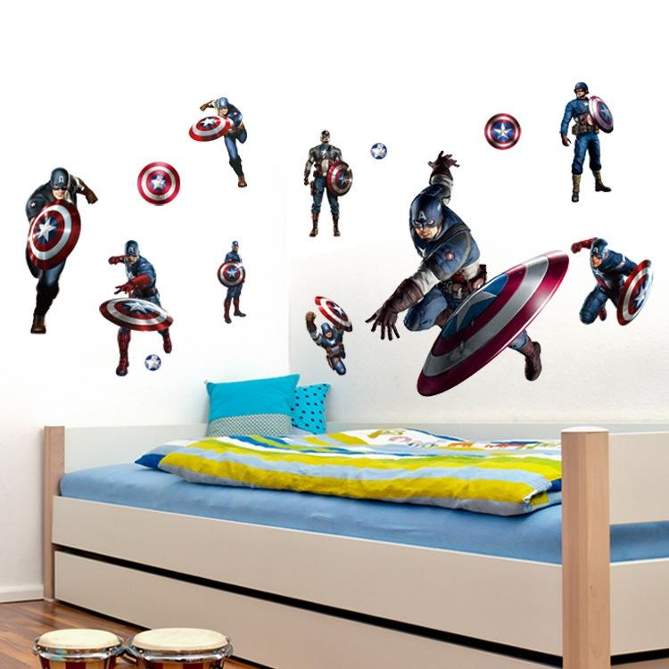 Foreign trade wall stickers avengers superhero boys room wall stickers america captain cartoon stickers 5070cm l58b america captain stickers stickers