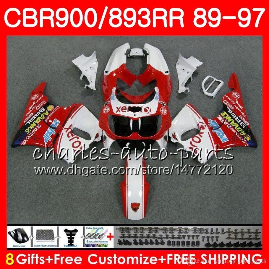 CBR 893RR Pour HONDA CBR900RR blanc rouge 1989 1990 1991 1992 1992 1995 1996 1997 1997 95NO70 CBR893RR CBR893 RR 89 90 91 92 93 94 95 96 97 Carénage