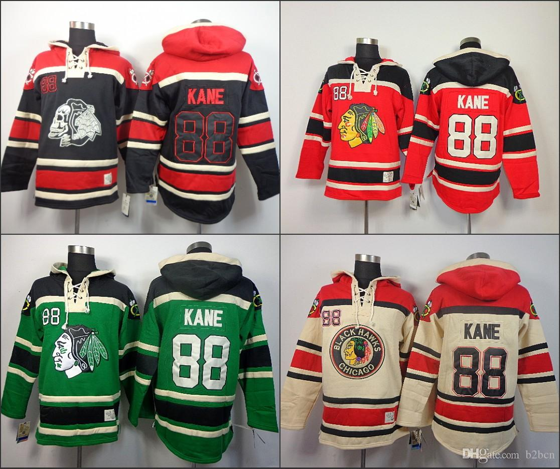 3a20a98a4 Cheap Mens Chicago Blackhawks Hoodies  88 Patrick Kane Sweatshirts Ice  Hockey Stitched Authentic Old Time Hockey Hoodies Size S-3XL Patrick Kane  Hoodies Old ...
