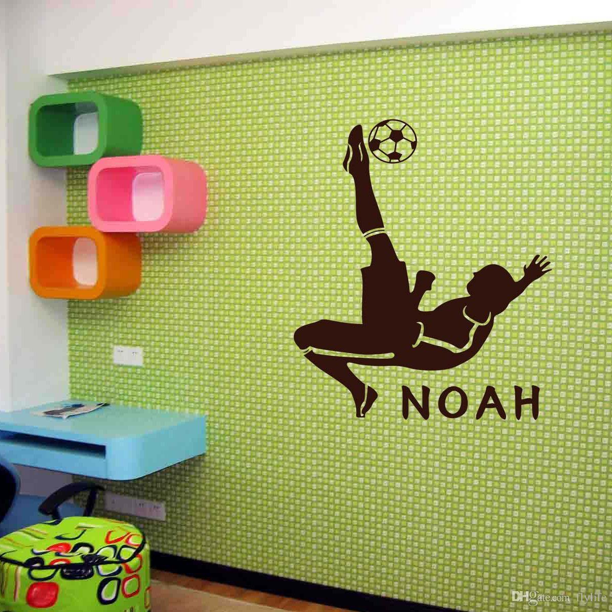 Free Shipping Customer Made Personalised Football Sport Wall Mural Vinyl  Decal Art For Boys Rooms Home Design Ideas