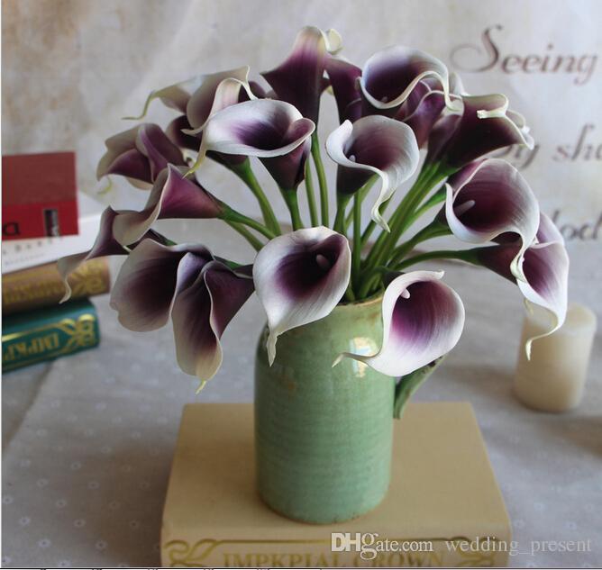 Flores artificiais romântico roxo em branco mini buquês de lírios de calla para buquês de noiva de casamento Chirstmas decoração falso flor venda barata