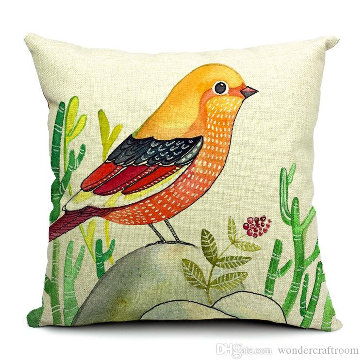 6 Stili Dipinti a mano Uccelli Cuscini Copri federa Uccello Cuscino albero Divano Divano Lancio Cuscino decorativo cotone Lino Presente