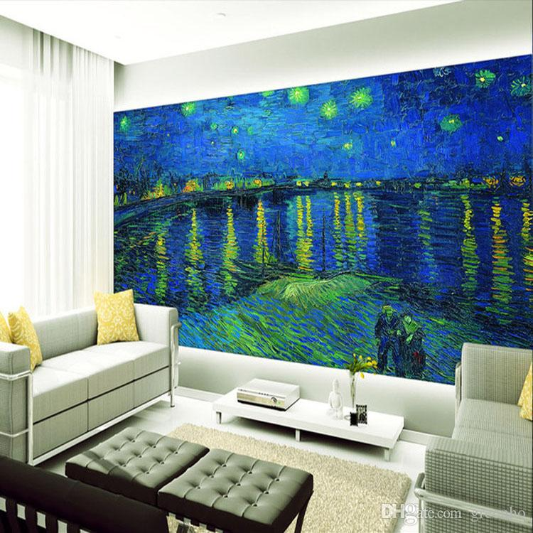 Amazing Starry Night Over The Rhone Photo Wallpaper Custom Van Gogh Wall Mural  Giant Art Wallpaper Oil Painting Room Decor Living Room Bedroom Home Image  Wallpaper ... Part 11