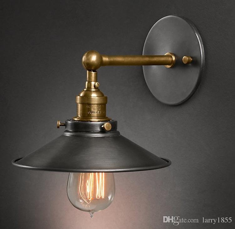 Discount Industrial Bathroom Lighting Loft Vintage Copper Umbrella Edison Wall Sconce Lamp Industrial Personality Bathroom Bedside