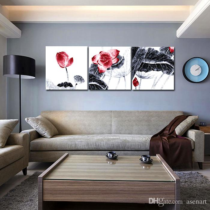 3 Panel Picture Lotus Leaf Chinese Ink Style Painting Canvas Prints Art Home Office Hotel Wall Decoration