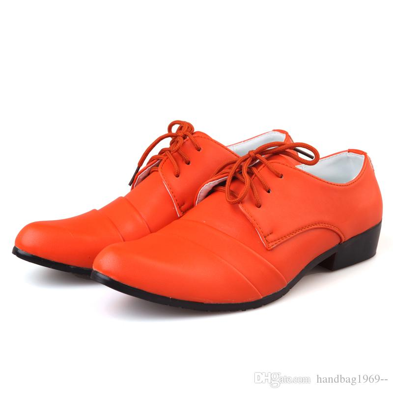 New Style Cheap Price Sell Orange Men Prom Shoes Lace Up Pleats ...