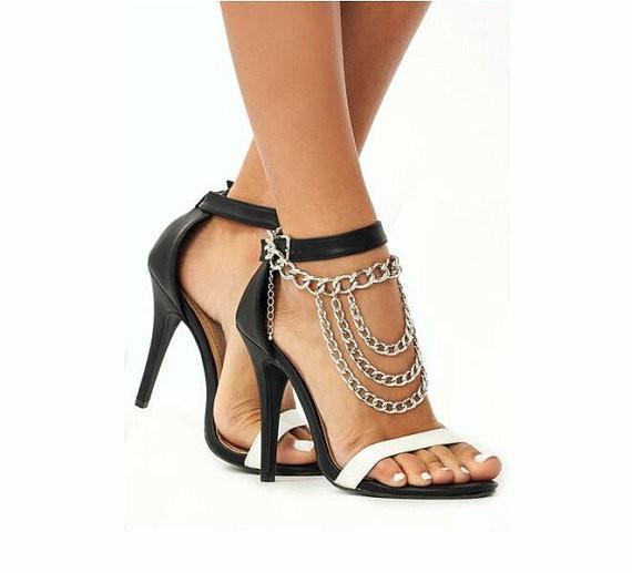 Püskül Halhal Altın / Gümüş Ayak Zincirleri Için Yüksek Topuklar SLAVE ANKLE Yüksek topuklu Ayakkabı Aksesuarları Çok Katmanlı Metal Halhal Zincirler Vücut Takı