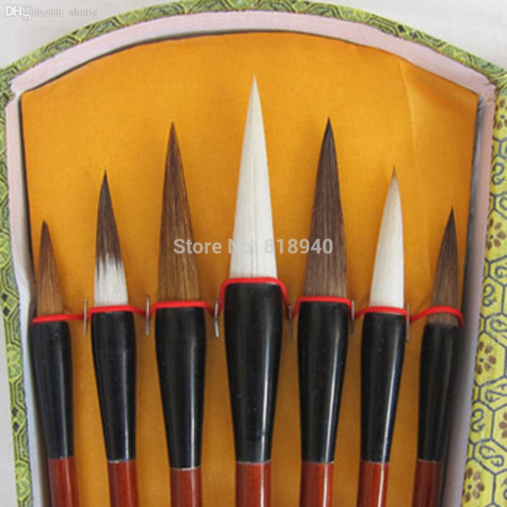 Wholesale-Set of 7 Brush Pen for Chinese Calligraphy Writing Art Painting Wolf Goat Hair 048-2641