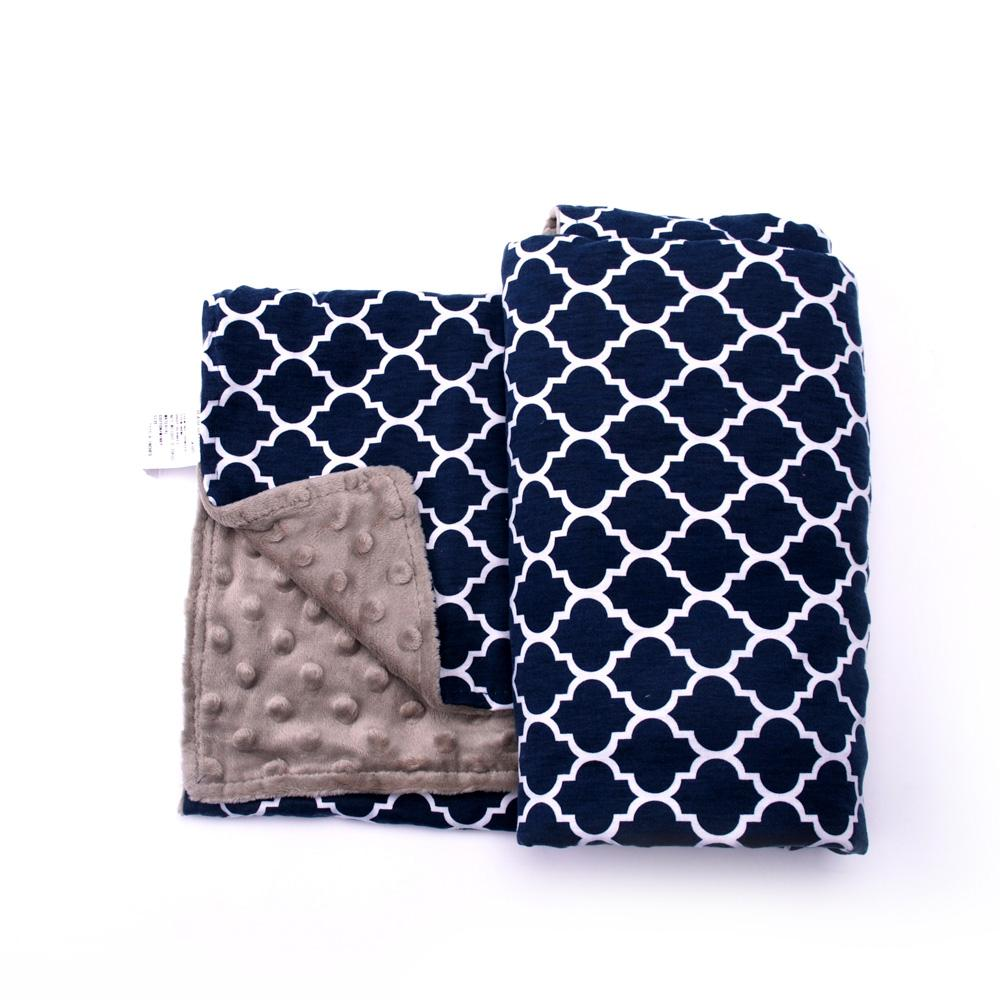 Quatrefoil Minky Blanket Wholesale Blanks Baby Cover with Soft Minky Toddler Blanket Gift for Baby DOM106223