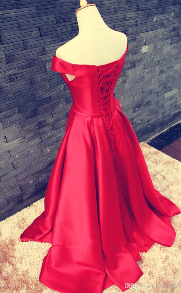 Actual Pictures Red Long Runaway Red Carpet Evening Dress For Women Formal Gown with Off Shoulder Floor Length Satin Prom Gowns Party