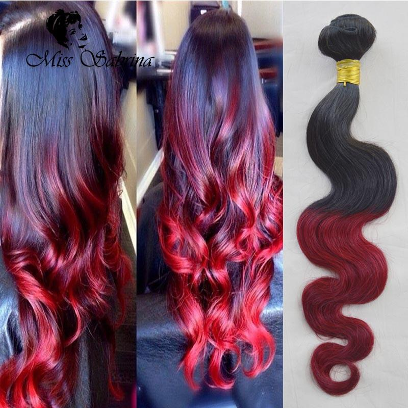 Wine Red Two Tone Human Hair Extension 3bundle Bungundy Ombre