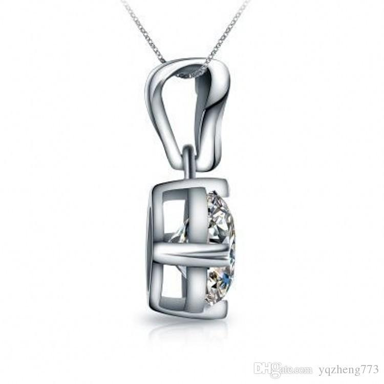 четыре Когтя идеальный круглый высокое качество Nscd синтетический алмаз обручальное свадебное ожерелье прекрасный свадебный Jewelry632-12-628-128