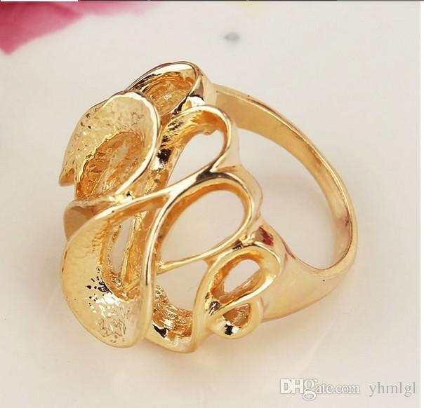 Exagerado 18 K chapado en oro ahueca hacia fuera la red larga anillos de dedo joyería para mujeres hombres Joyería de la boda 2015 envío gratuito venta al por mayor