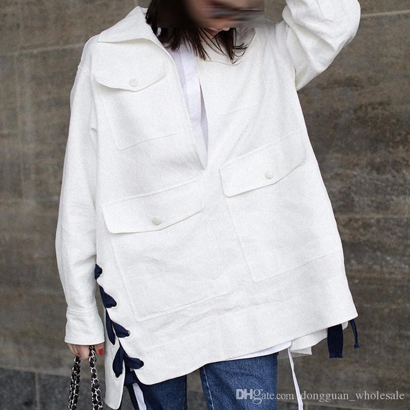 Herbst lose Frauen Windbreaker 2018 Mode lässig Lace Up Solid Color Umlegekragen Button Trenchcoat