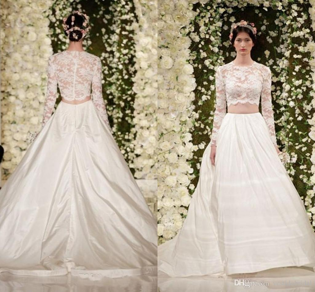 Discount 2015 Designer Two Piece Wedding Dresses With Long Sleeve ...