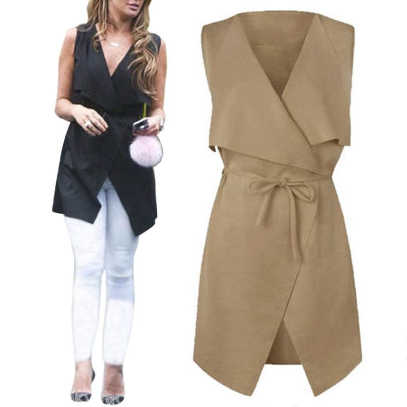 2017 Women'S Lapel Sleeveless Long Waistcoat Cardigan Coat Blazer ...