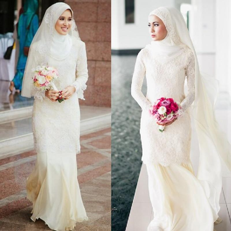 2015 Modest High Quality Muslim Wedding Dresses Sheath High Neck ...