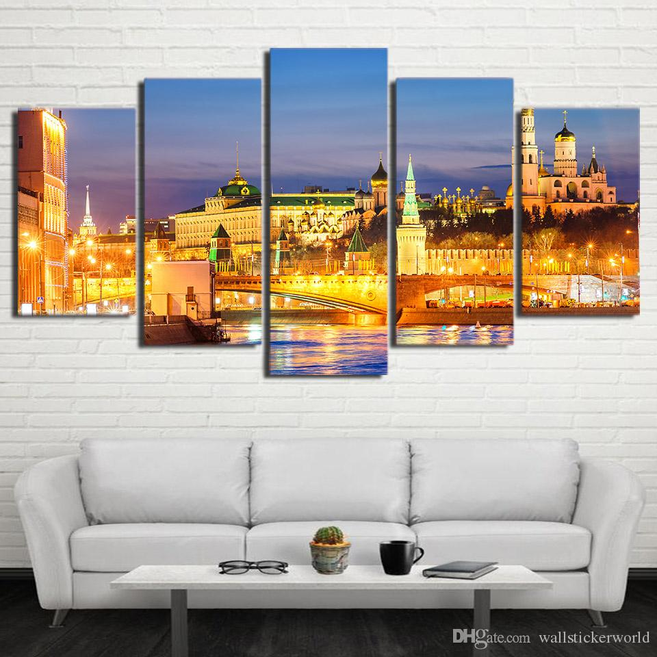 HD Prints Canvas Wall Art Pictures Moscow Houses Rivers Bridges Landscape Home Decor Framework Paintings Posters