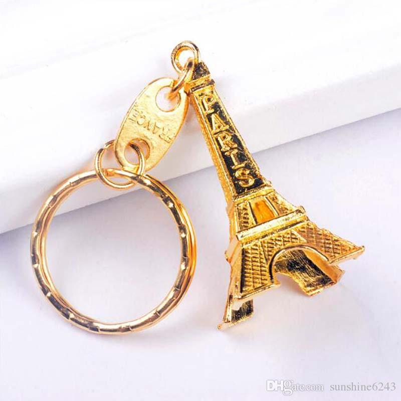 Vintage Eiffel Tower Keychain Stamped Paris France Tower Pendant Key Ring Gifts Fashion Gold Sliver Bronze