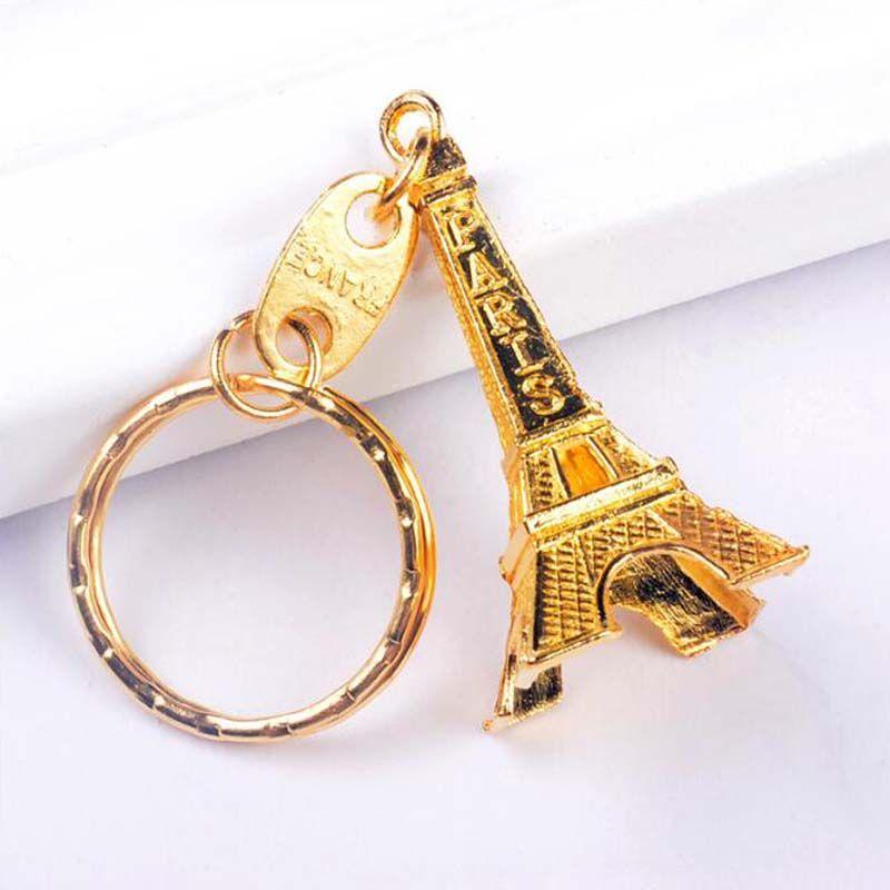 Vintage Torre Eiffel Chaveiro Paris Torre Torre Pingente Anel Chave Presentes de Ouro Sliver Bronze