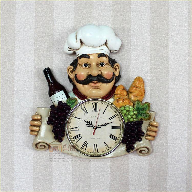 European Style Creative Country Personality Clocks Kitchen Resturant Wall  Clock Cartoon Spherical Acrylic Mask Decorative Wall Clocks For Living Room  ...