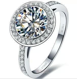New Fine Wholesale - US sona diamond ring 3 kt gold-plated sterling silver T models PT950 platinum mark Moissanite