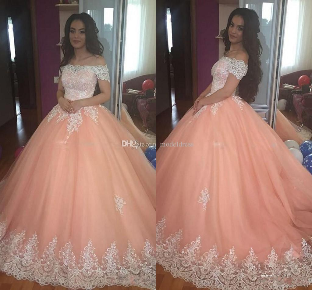 de5c43ef763 Sweet 16 Peach Quinceanera Dresses 2018 Off Shoulder Appliques Puffy Corset  Back Ball Gown Princess 15 Years Girls Prom Party Gowns Custom Dama Dresses  For ...