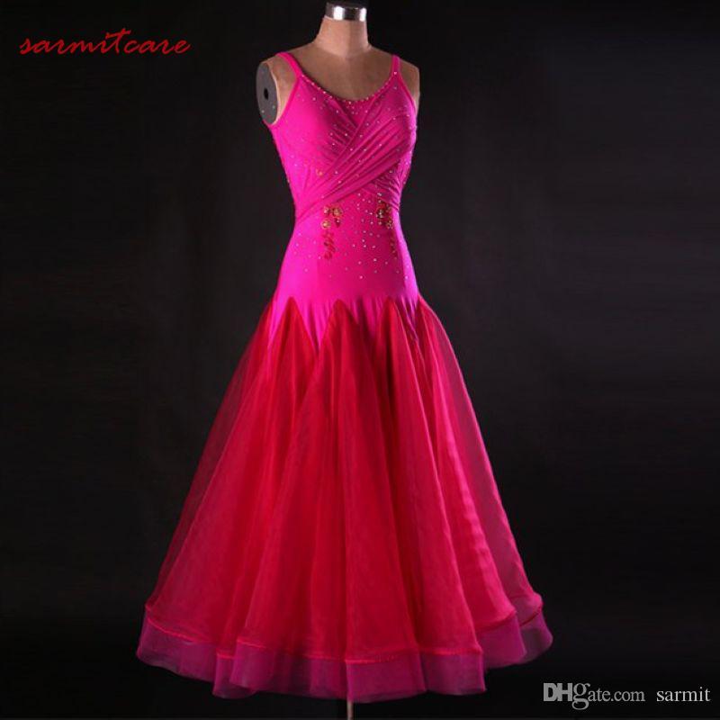 Ballroom Waltz Dresses Sale Ballroom Competition Dress Party Dance Costumes Tango D0424 Rhinestones Big Sheer Hem