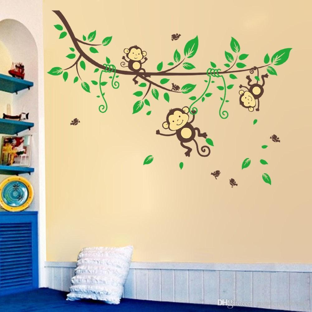Cartoon Naughty Monkey Wall Sticker Baby Monkeys In The Jungle Wall ...
