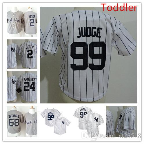 reputable site 82cb6 63dcb Toddler #99 Aaron Judge NY Jersey WHITE navy Stitched Baby #2 Derek Jeter  #24 Gary Sanchez #68 Dellin Betances Jersey 2T-4T