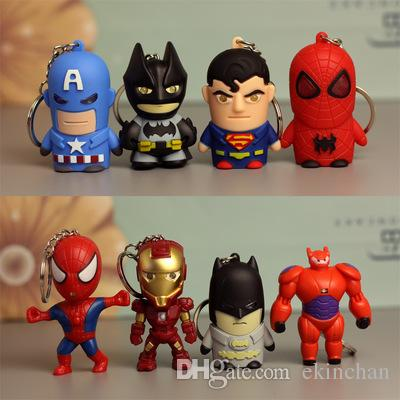 NEW LED superhero Batman superman Keychain pendant accessories spiderman Iron man luminous with sound action figures key chain