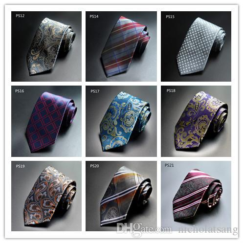 빈티지 남성 정장 페이즐리 넥타이 폴리 에스터 실크 프린트 격자 무늬 넥타이 꽃 Gravata for Mens Vestidos Business Bridegroom Neck Tie
