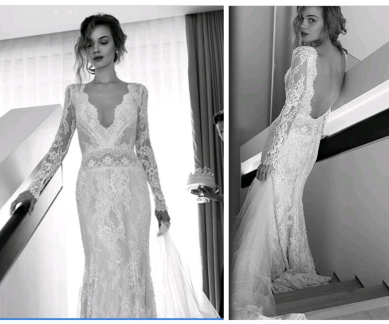 1cb9111f375 2015 Fall White Ivory Bohemian Wedding Dresses Sexy V Neck Long Sleeves  Lace Bridal Gowns Custom Made Open Back Sheath Exquisite Elegant Short  Bridal ...