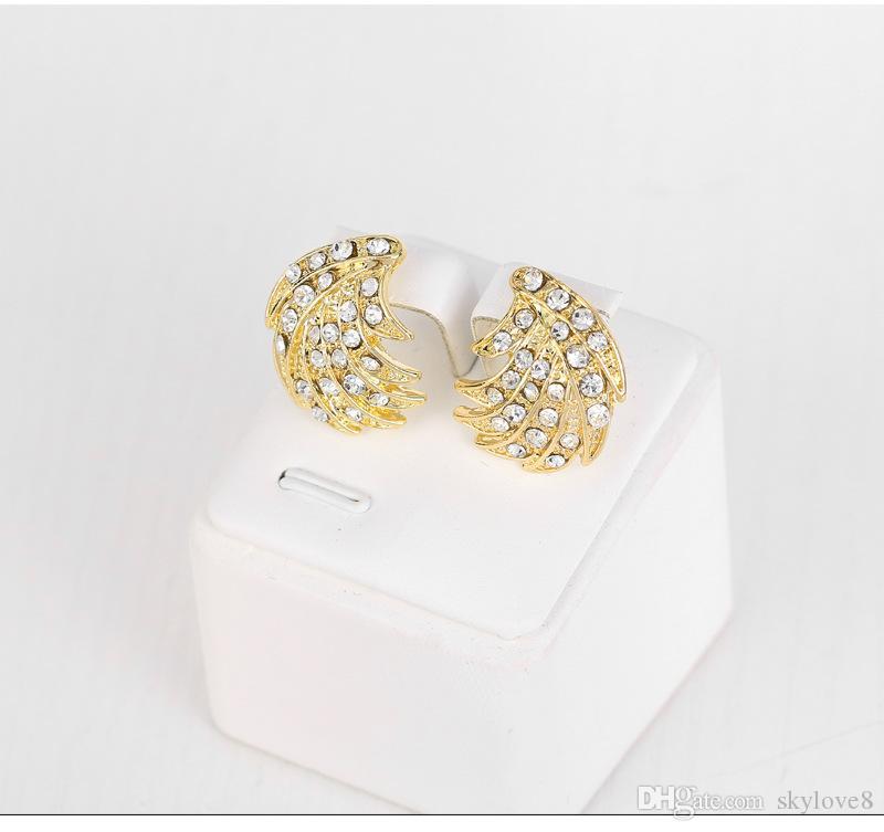 De haute qualité collier de diamants plaqué or 18 carats + boucles d'oreilles + bague + bracelet bijoux de mariée imitation ensemble jeu de couleurs de bijoux en or demoiselle d'honneur