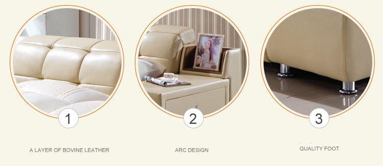 TRANSPORTE LIVRE GENUÍNO cama de couro estilo elegante Simple Yellow pessoa Duplo FASION MODERNA BOA QUALIDADE 180 * 200 A59D