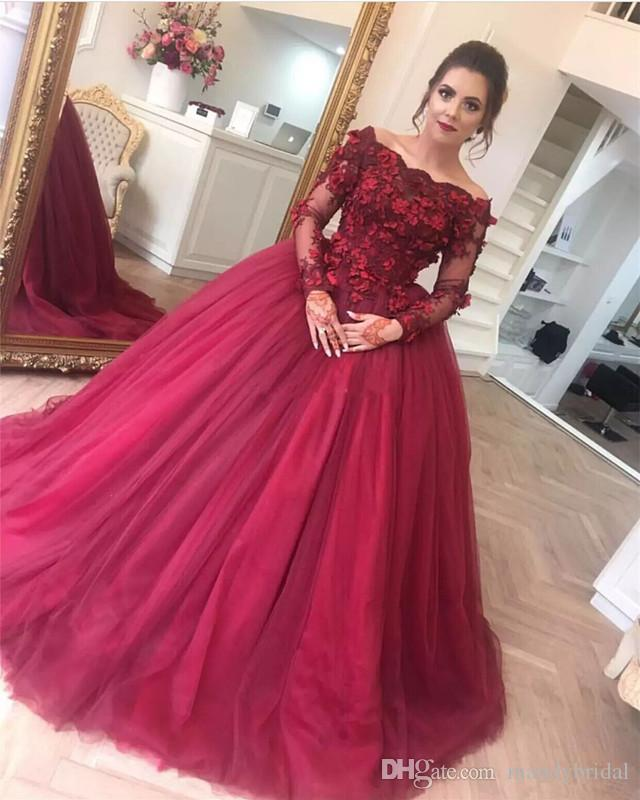 2018 Awesome Ball Gown Quinceanera Dresses Burgundy Off Shoulders ...