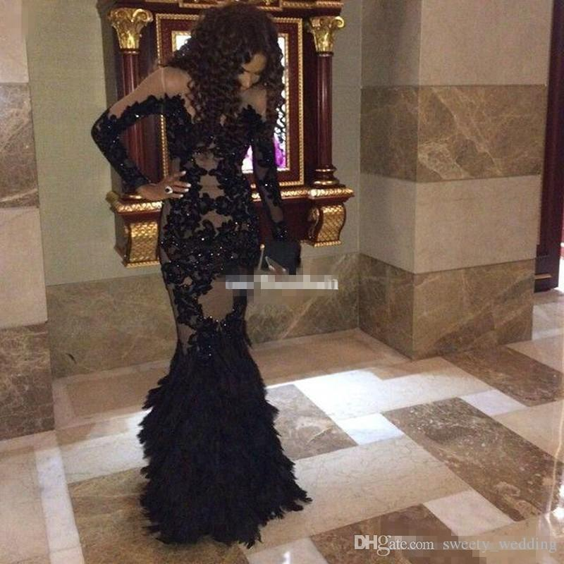 Luxury Black Feather Prom Dresses With Long Sleeves Sheer Champange Arabic Evening Gowns Real Tulle Mermaid Formal Dresses Gowns Plus Size