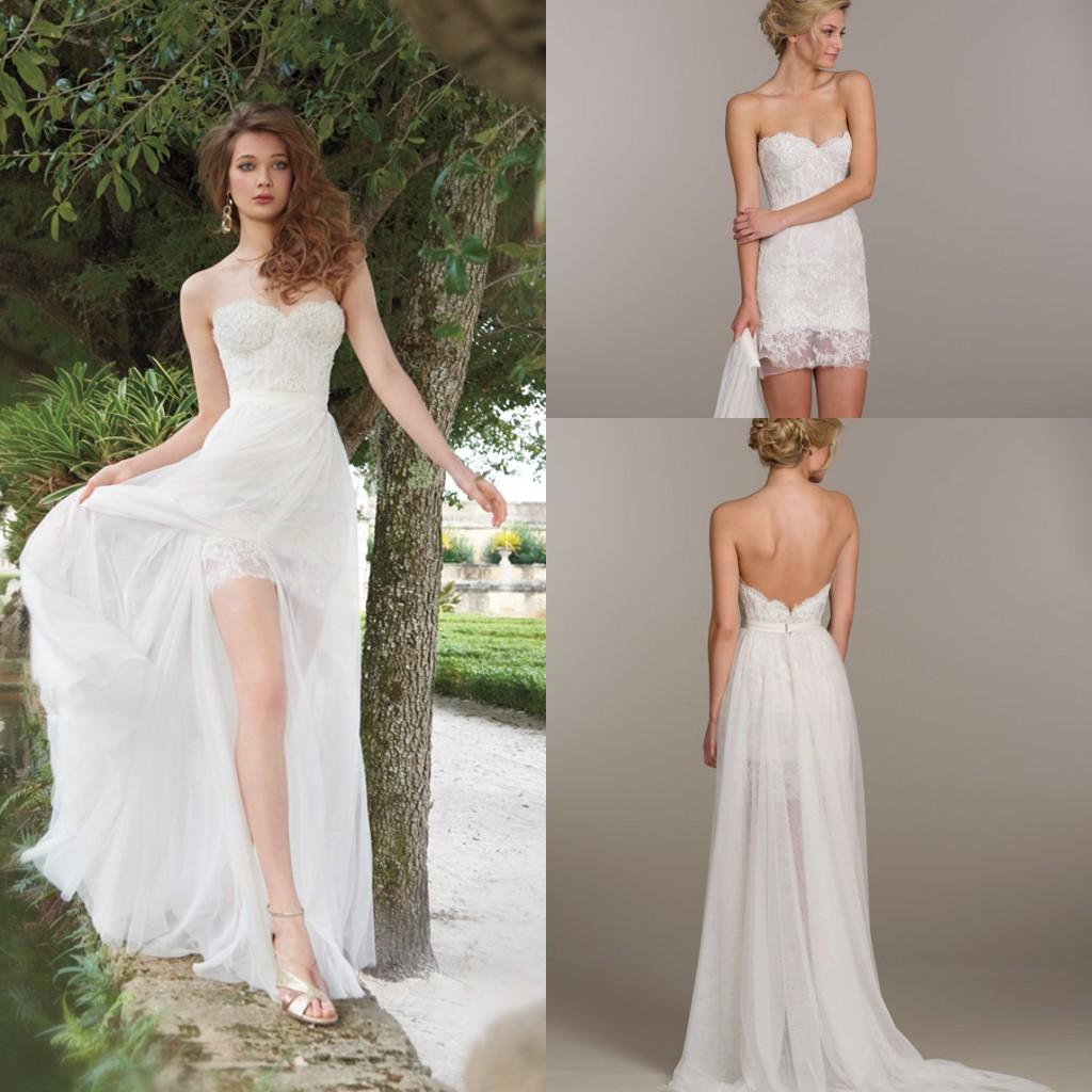 Unique Detachable Skirt Chiffon Beach A Line Wedding Dresses Lace ...