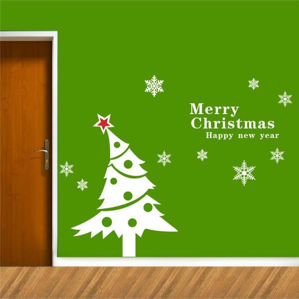 Christmas Wall Decorations merry christmas wall stickers christmas tree for home decor
