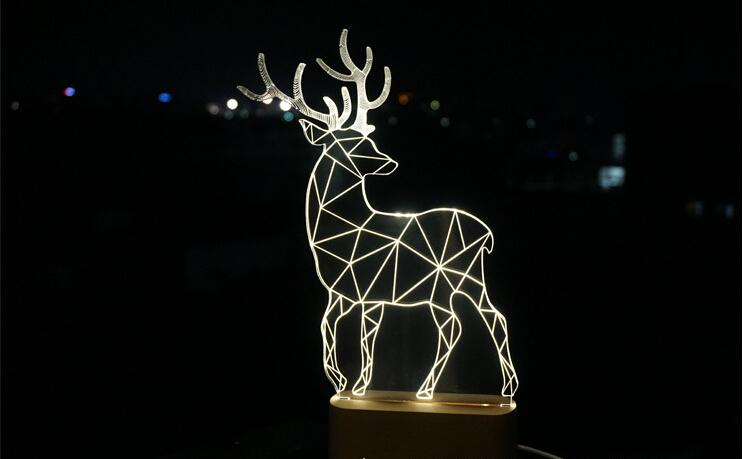 nordic wood deer small night light for christmas gift 3 d night light a variety of design is optional - Light For Christmas