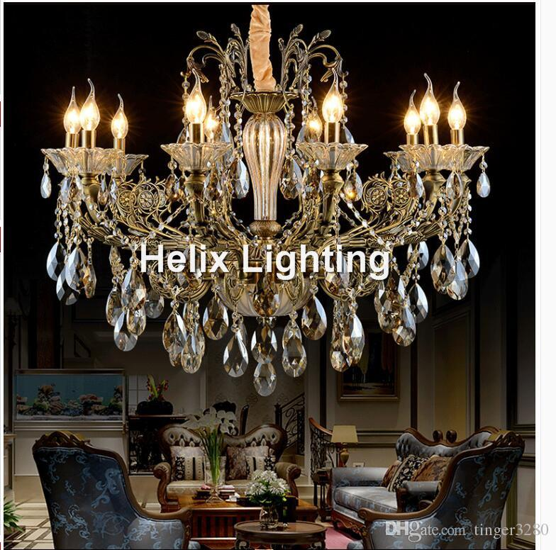 Bronze Finished Antique Crystal Chandelier Lingting Luxurious Ac Led